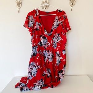 Mod cloth red floral print dress | XL